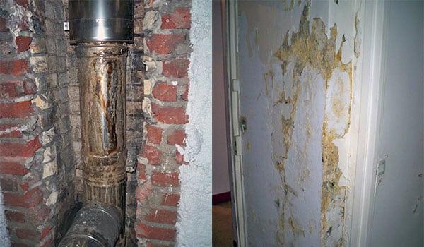 Dégâts liés à la corrosion des condensats sur un tubage et dans un appartement