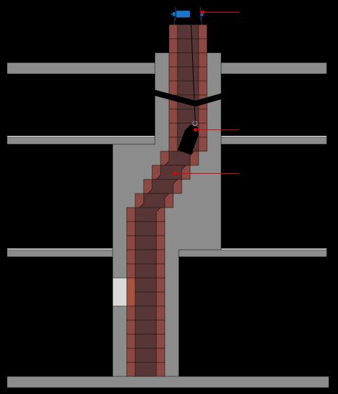 Passage ogive pour futur tubage du conduit de fumée avec dévoiement